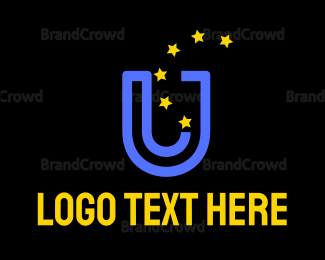 Political - Blue U & Stars logo design
