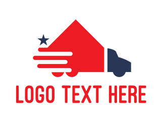 Removalist - American House Moving Truck Transport logo design