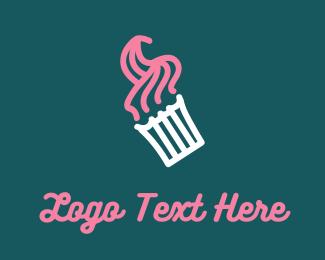 Bake - Pink Cupcake logo design