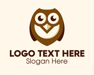 Wisdom - Cute Brown Owl logo design