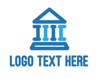 Temple - Blue Thick Parthenon logo design