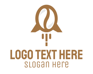 Space Ship - Rocket Coffee Bean logo design