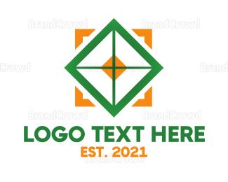 Flooring - Orange Green Box Crosshair logo design