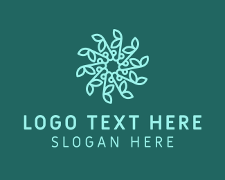 Natural Therapy - Blue Snowflake Flower logo design