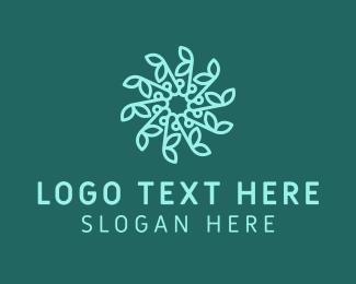 Detailed - Blue Snowflake Flower logo design