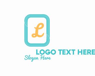 Lines - Teal Square Lines Letter logo design