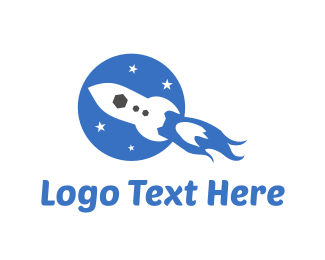 Blue Rocket - Fast Rocket logo design