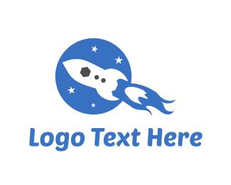 Spaceship - Fast Rocket logo design