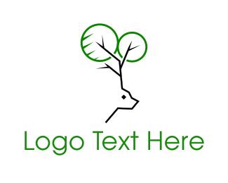 Reindeer - Deer Tree logo design