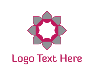 Massage - Pink & Grey Flower logo design