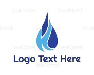Aqua - Blue K Droplet logo design