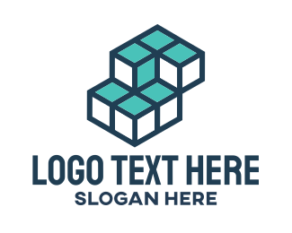 Connection - Blue Cubes logo design