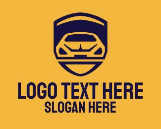 Taxi - Yellow Car Shield logo design