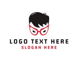 Nerdy - Red Eyeglasses logo design