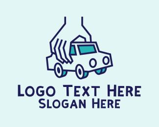 Sedan - Toy Car Hand logo design
