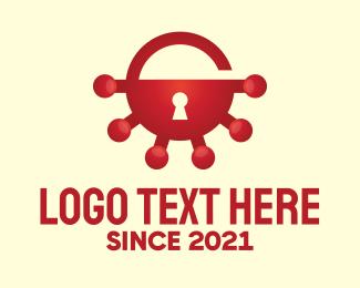 Unlocked - Red Virus Unlocked logo design