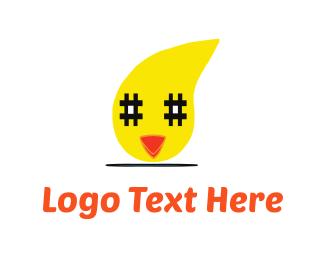 Chick - Chicken & Hashtag logo design