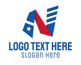 State - Striped Flag Letter N logo design
