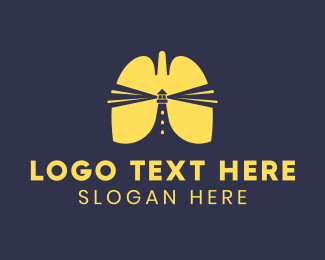 Oxygen - Yellow Lungs Lighthouse Beacon logo design