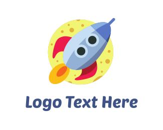 Spaceship - Rocket Cartoon logo design