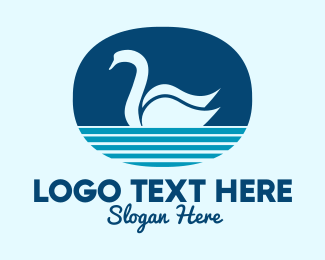 Lakeside - Blue Pond Swan  logo design