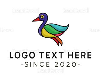 Duck - Colorful Duck Outline logo design