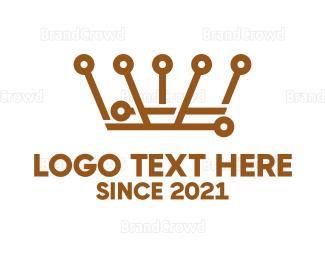 Technological - Bronze Crown Technology logo design