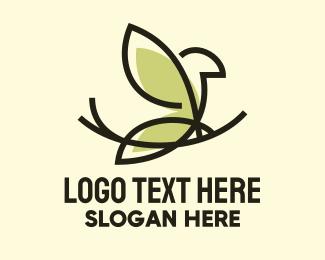 Perch - Perched Canary Bird  logo design