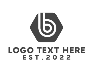 Black Wave - Hexagon Letter B logo design