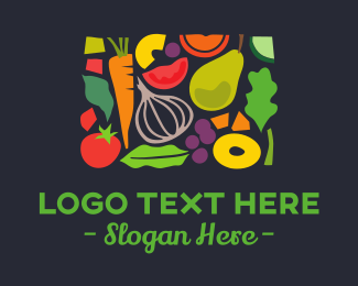 Vegan Food - Fruit & Vegetables Food logo design
