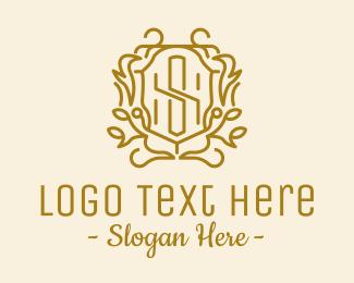 School - Gold Letter S Emblem  logo design