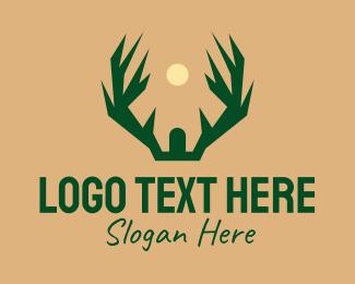 Outdoor Gear - Deer Antler Hunting logo design