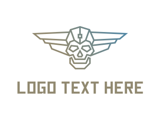 Sun Glasses - Cyborg Skull Wing logo design
