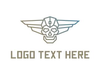 Cyborg Skull Wing Logo Maker