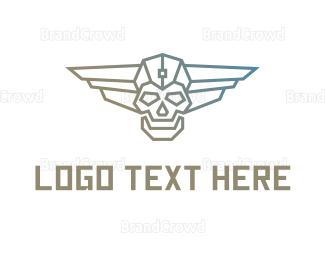 Wing - Cyborg Skull Wing logo design