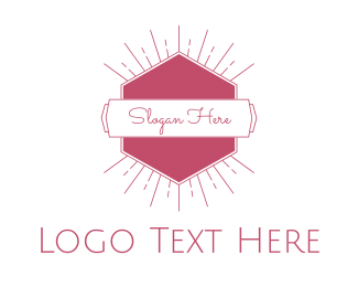Pink Hexagon - Pink Radiant Emblem logo design