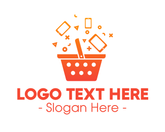 Grocery Store - Orange Gradient Shopping Bag logo design