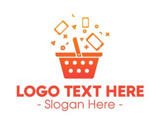 Shop - Orange Gradient Shopping Bag logo design
