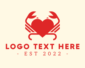 Zodiac - Red Heart Crab  logo design