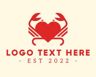 Crab - Red Heart Crab logo design