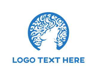 Doggie - Blue Wolf logo design