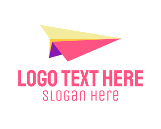 Flight - Coloful Paper Plane logo design