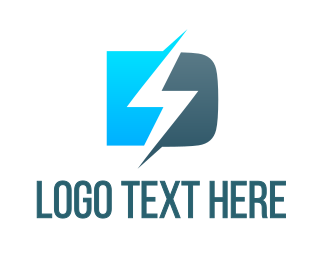Zeus - Blue D Lightning Bolt logo design