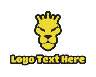 Gaming - Yellow Lion Crown logo design