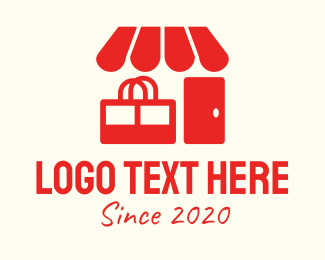 Grocery Store - Red Shop Store Mart logo design