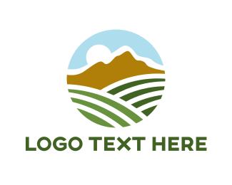 Crop - Mountain Field Agriculture  logo design