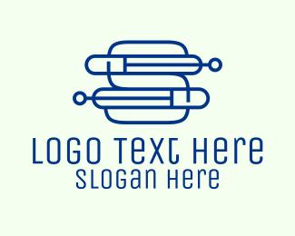 Computer Service - Electronic Digital Letter S logo design