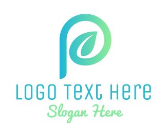 Alphabet - Green Letter P Plant Leaf  logo design