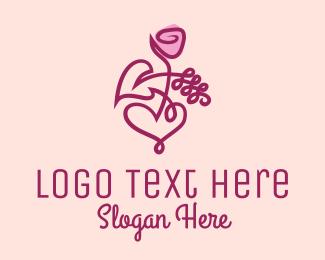 Botanical Product - Minimalist Rose Floral  logo design