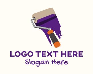 Paint Shop - Purple Paint Roller  logo design